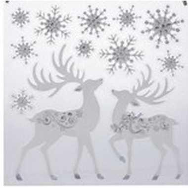 Kerst decoratie raamstickers rendier/kerst sneeuwvlok 31 x 39 cm
