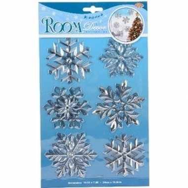 Kerst decoratie raamstickers zilveren kerst sneeuwvlokken type 1