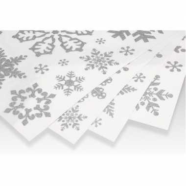Kerst decoratie raamstickers zilveren kerst sneeuwvlokken