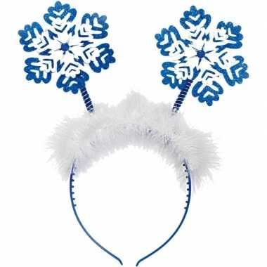 Kerst diadeem/tiara blauw met kerst sneeuwvlokken
