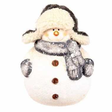 Kerst kerst sneeuwpop beeldje 13 cm met sjaal