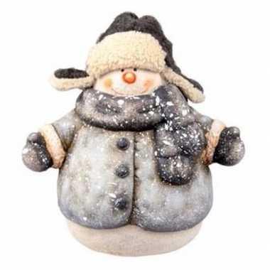 Kerst kerst sneeuwpop beeldje 21 cm met sjaal