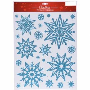 Kerst raamstickers/raamdecoratie kerst sneeuwvlok plaatjes 30 x 40 cm
