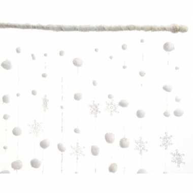 Kerst sneeuwballen en kerst sneeuwvlokken gordijnen 90 x 200 cm
