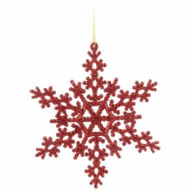 Kerst sneeuwvlok decoratie rood 14,5 cm type 2