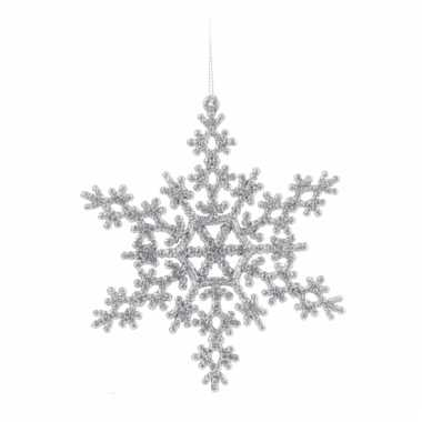 Kerst sneeuwvlok decoratie zilver 14,5 cm type 2