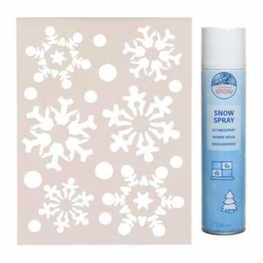 Kerst/winter thema kerst sneeuwvlokken raamsjabloon met busje spuitkerst sneeuw
