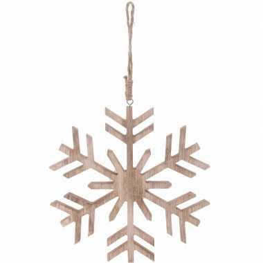 Kerstboom decoratie bruin/houten kerst sneeuwvlok hanger 20 cm