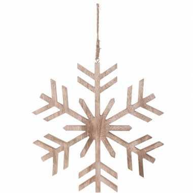 Kerstboom decoratie bruin/houten kerst sneeuwvlok hanger 30 cm