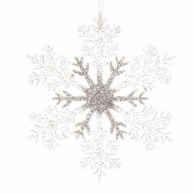 Kerstboom decoratie kerst sneeuwvlok 21 cm transparant/zilver