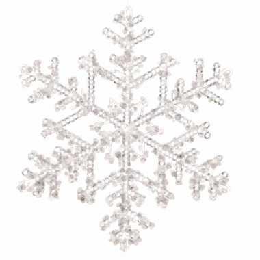 Kerstboom decoratie kerst sneeuwvlok hanger 18 cm transparant