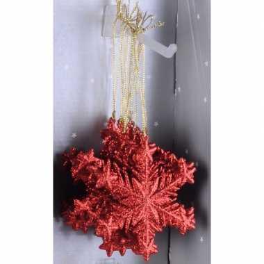 Kerstboom decoratie rode glitter kerst sneeuwvlok hanger type 1 10cm