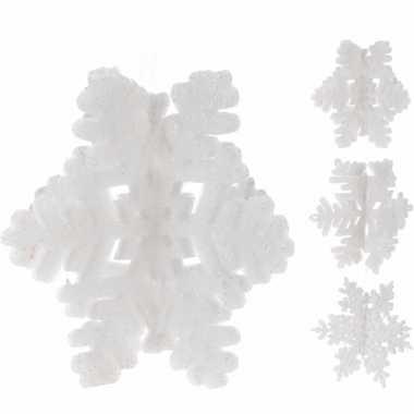 Kerstboom decoratie witte glitter kerst sneeuwvlok hanger 21 cm