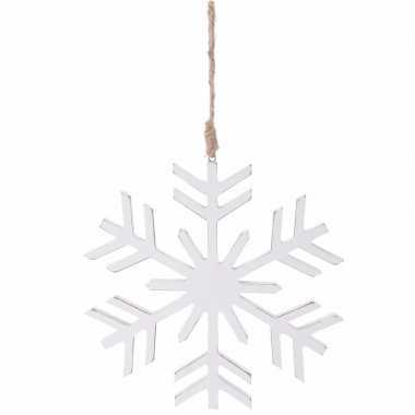Kerstboom decoratie witte kerst sneeuwvlok hanger 20 cm
