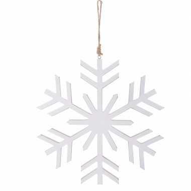 Kerstboom decoratie witte kerst sneeuwvlok hanger 30 cm