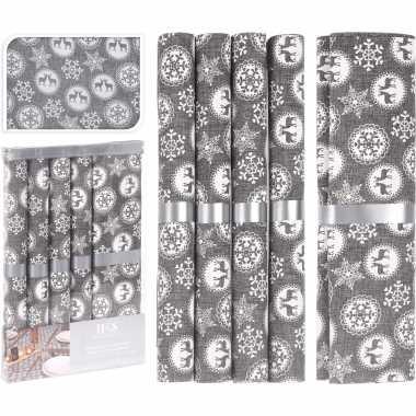 Kerstdiner/diner tafeldecoratie tafellopers met 5x placemats grijs met kerst sneeuwvlokken