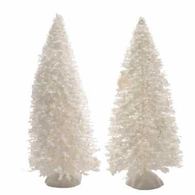Kerstdorp maken bekerst sneeuwde decoratie dennenbomen 2 stuks 15 cm