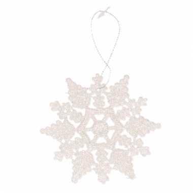 Kersthanger kerst sneeuwvlok wit glitter type 2