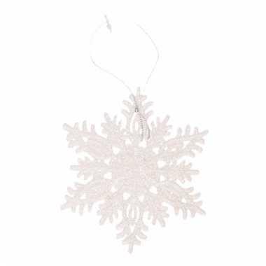 Kersthanger kerst sneeuwvlok wit glitter type 3