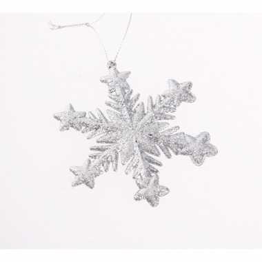 Kersthanger kerst sneeuwvlok zilver glitter type 1