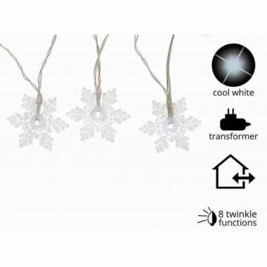 Kerstverlichting led kerst sneeuwvlok koel wit buiten 24 lampjes