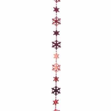 Kerstversiering kralenslinger rood met kerst sneeuwvlokken 270 cm