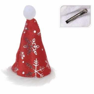 Mini kerstmutsje met kerst sneeuwvlokken op clip