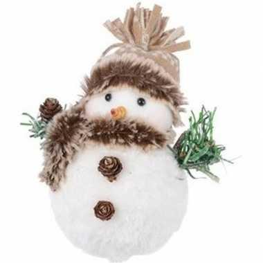 Pluche kerst sneeuwpop beeldje 14 cm muts met pompon