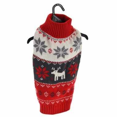 Rode gebreide foute kersttrui met kerst sneeuwvlokken en rendieren voor huisdieren