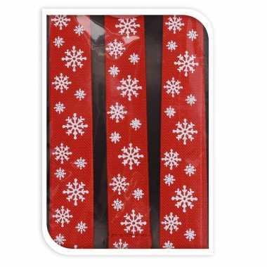 Rode kerst bretels met kerst sneeuwvlokken kerstaccessoires voor volwassenen