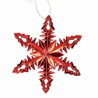 Rode kersthanger kerst sneeuwvlok type 2 10 cm