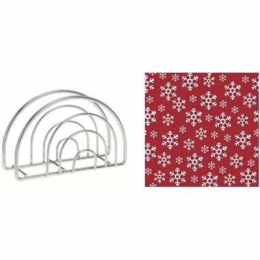 Servettenhouder met kerst servetten rood/witte kerst sneeuwvlokken