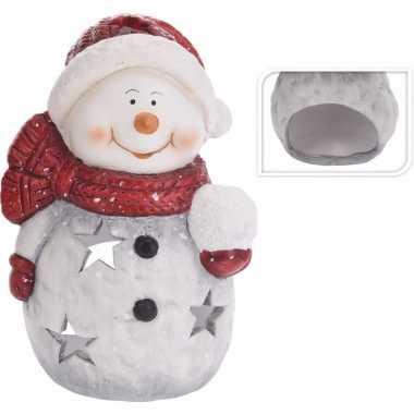 Theelichthouder kerst sneeuwpop 15 cm