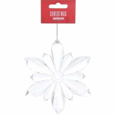 Transparante kerst sneeuwvlok kerstversiering hangdecoratie 11 cm
