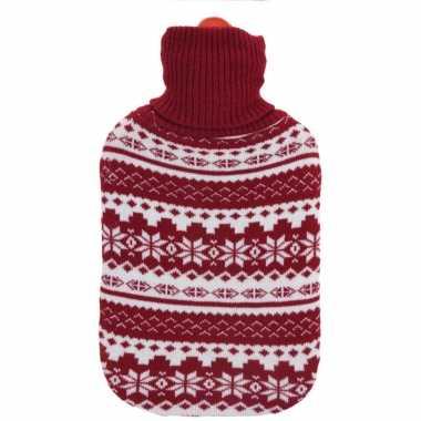 Warmwater kruiken rood/witte gebreide hoes met kerst sneeuwvlokken opdruk