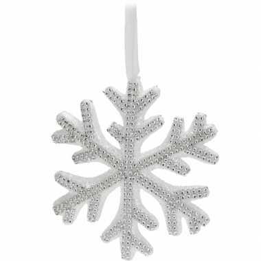 Witte kerst sneeuwvlok met steentjes 25 cm