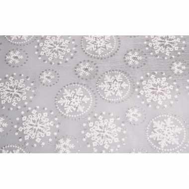 Zilveren tafelloper kerst sneeuwvlok met glitters 30 x 270 cm
