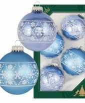 12x luxe blauwe glazen kerstballen met witte kerst sneeuwvlokken 7 cm