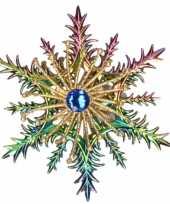 1x kersthangers figuurtjes acryl kerst sneeuwvlok paars blauw 14 cm