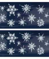 2x kerst raamversiering raamstickers witte glitter kerst sneeuwvlokken 23 x 49 cm