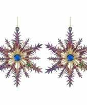 2x kersthangers figuurtjes acryl kerst sneeuwvlok paars blauw 14 cm