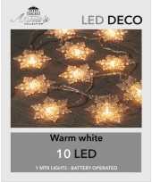 2x stuks lichtsnoer met kerst sneeuwvlokken 10 lampjes warm wit op batterij