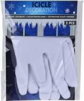 2x winterversieringen kerst sneeuw ijspegel rand wit 31 x 120 cm