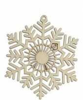 3x houten kerst sneeuwvlok type 2 kerstversiering hangdecoratie 10 cm