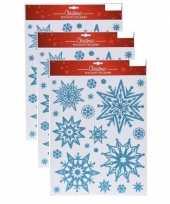 3x kerst raamstickers raamdecoratie kerst sneeuwvlok plaatjes