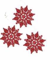 3x kerstboom decoratie rode glitter kerst sneeuwvlok 10 cm type 2