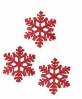 3x kerstboom decoratie rode kerst sneeuwvlok hanger 10 cm type 1