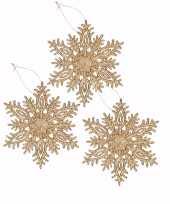 3x kersthanger kerst sneeuwvlok goud glitter type 3