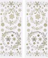 3x velletjes kerst sneeuwvlokken stickers goud 29x per vel