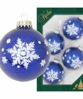4x luxe blauwe glazen kerstballen glitter met witte kerst sneeuwvlok 7 cm